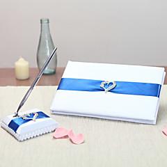 סאטן נושא וגאסWithסרטים אבנים נוצצות ספר אורחים סט עט