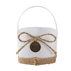 6pc Fabric Favor Tins and Pails Basket with Jute Bowknot for Wedding Flower /Candy Decoration (8.5 * 8.5 *6cm)