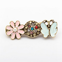 Fashion Flash Diamond Butterfly Rest Flower Brooch