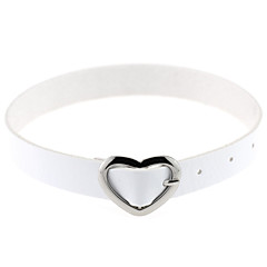 Women's Choker Necklaces Collar Necklace Leather Silver Plated Alloy Heart Sexy Fashion Vintage Punk Adjustable PersonalizedPink Light