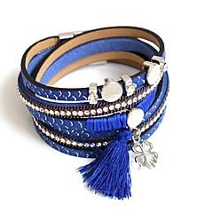 Heren Dames Wikkelarmbanden Modieus Leder Ronde vorm Grijs Geel Bruin Rood Blauw Sieraden Voor Feest Dagelijks 1 stuks
