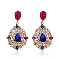 High Quality Water Drop Dangle Earrings 18K Rose Gold Plated Elegant Popular Colorful Crystal Earrings For Women Girls