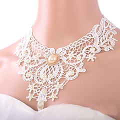 Necklace,Jewelry,Women White Lace Pearl Pendant Chokers Necklaces  Bridal Accessories Jewelry Wholesale
