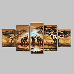Kézzel festett Absztrakt Festmények,Tradicionális Öt elem Vászon Hang festett olajfestmény For lakberendezési