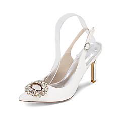 Hæle-Satin SilkeDame-Sort Blå Rosa Lilla Rød Elfenbensfarvet Hvid Sølv Guld Champagne-Bryllup Fest/aften-Stilethæl