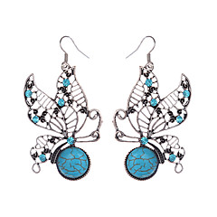 עגיל Animal Shape תכשיטים 1 זוג וינטאג' / סגנון בוהמיה יומי / קזו'אל סגסוגת / אבן נוצצת / מצופה כסף נשים / נערות כחול