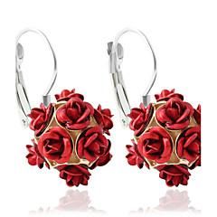 עגיל Flower Shape תכשיטים 1 זוג אופנתי חתונה / Party / יומי / קזו'אל סגסוגת נשים שחור / אדום / כחול / ירוק / סגול / אפור / ורוד