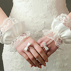 2016 New Wrist Length Fingerless Glove Lace / Elastic Satin Bridal Gloves with Pearls / Ruffles / Bow / lace