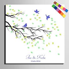 e-HOME® personalizované obraz otisku prstu na plátně -a pták na větvi (obsahuje 12 inkoustových barev)