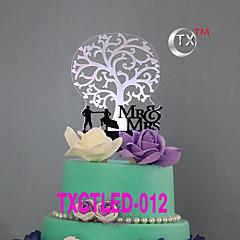LEDCake Topper Non-personalized Classic Couple Acrylic Wedding Flowers Black Classic Theme 1 Gift Box