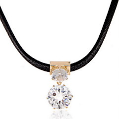 Women's Choker Necklaces Pendant Necklaces Circle Geometric Zircon Cubic Zirconia Leather Fashion Adjustable Personalized Jewelry For