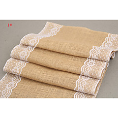 30cm Width Vintage Jute Burlap Lace Hessian Lace Table Runner Natural Jute Country Party Wedding Decoration