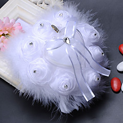 New Rose With Ostrich Decorative Chiffon Ring Ring Pillow