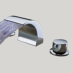Zeitgenössisch 3-Loch-Armatur LED / Wasserfall with  Keramisches Ventil Zwei Griffe Drei Löcher for  Chrom , Waschbecken Wasserhahn