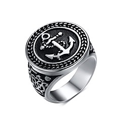 Men's Fashion Individual Novel  Ship's Anchor Stainless Steel High Polised Band Rings(1Pc) Christmas Gifts