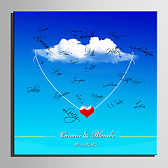 E-HOME® Personalized Signature Canvas invisible Frame Print-White Clouds And Love