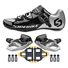 Cycling Shoes Unisex Outdoor / Road Bike Sneakers Damping / Cushioning Black / Silver-sidebike And R540 Rock Pedals