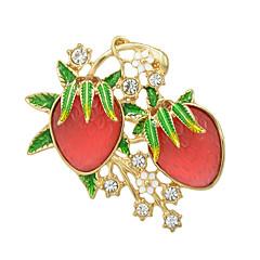 패션 라인 스톤 에나멜 딸기 모양의 큰 브로치