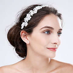 Women's Lace / Acrylic Headpiece-Wedding / Special Occasion Flowers 1 Piece White Flower 0