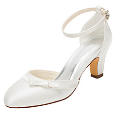 Women's Heels Spring / Fall Others Stretch Satin Wedding / Dress Chunky Heel Bowknot / Buckle Ivory Others