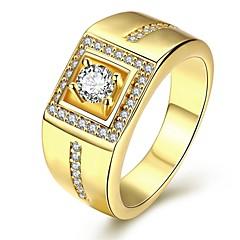 Heren Ring Liefde PERSGepersonaliseerd Luxe Sieraden Kostuum juwelen Kubieke Zirkonia Koper Verzilverd Verguld Geometrische vorm Sieraden
