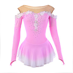 Ice Skating Dress Women's Long Sleeve Skating Dresses High Elasticity Figure Skating Dress Breathable / Wearable Flower(s) / LaceSpandex