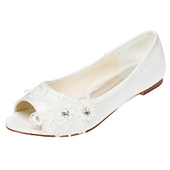 Women's Flats Spring / Summer Others Stretch Satin Wedding / Party & Evening / Dress Flat Heel Crystal Ivory / White Others