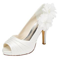 Feminino-Saltos-Plataforma-Salto Agulha Plataforma-Marfim Branco-Cetim com Stretch-Casamento Social Festas & Noite