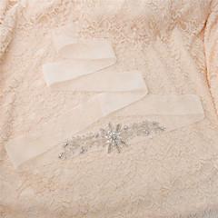 Organza Wedding / Party/ Evening / Dailywear Sash-Beading / Rhinestone Women's 98 ½in(250cm) Beading / Rhinestone