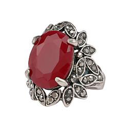 Bague Rubis Gemme Résine Strass Plaqué argent Imitation de diamant Alliage Forme de Feuille Argent BijouxMariage Soirée Quotidien