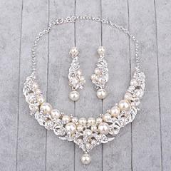 Šperky 1 x náhrdelník / 1 x pár náušnic Imitace perly / imitace drahokamu Svatební 1Nastavte Dámské Stříbrná Svatební dary