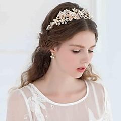 成人用 ラインストーン 合金 人造真珠 かぶと-結婚式 パーティー ティアラ ヘッドバンド コサージュ ヘッドチェーン ヘアメイクツール 1個
