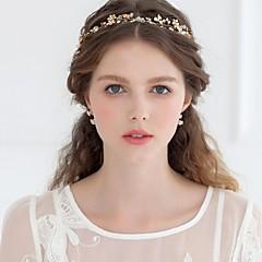 Femme Strass Alliage Imitation de perle Casque-Mariage Occasion spécialeTiare Serre-tête Fleurs Couronnes Chaîne pour Cheveux Accessoires