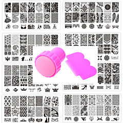 10pcs del arte del clavo pattren encaje sello plantilla de uñas dan 1 juego de herramientas sello 12x6cm