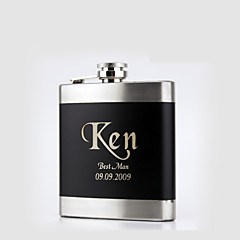 Gift Groomsman Personalized Black Stainless Steel Flasks 6-oz Flask