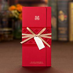 Přizpůsobeno složený třikrát Svatební Pozvánky Pozvánky Pozvánky na zásnubní večírek-50 Kusů v sadě Umělecký styl lepenkový papírStuhy