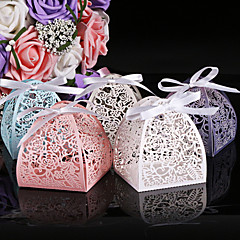 50 Piece/Set  In Pearl Color Flower Laser Cut Candy Box Wedding Box Paper Favor Boxes Non-personalised