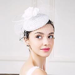 Mulheres Penas Linho Seda Rede Capacete-Casamento Ocasião Especial Fascinador Flores Véus de Rede 1 Peça