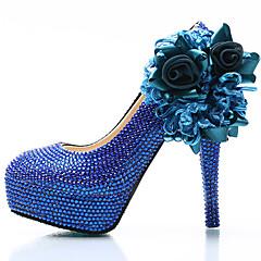 Women's Heels Spring Summer Fall Winter Comfort Novelty PU Silk Wedding Party & Evening Platform Crystal HeelRhinestone Crystal Applique