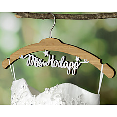 Wedding Dress Hanger Personalized Wedding Hanger Bamboo Hanger with White Acrylic Bride Name