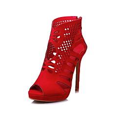 Feminino-Botas-Conforto Gladiador Sapatos clube-Salto Agulha-Preto Vermelho-Flanelado-Casamento Social Festas & Noite