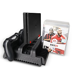 PS4 / PS4 Slim / PS4 Pro Multifunctional Cooling Stand with 3 Built-in Cooling Fans Dual Charging Ports Can Store 12 Pcs Game Discs TP4-882