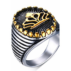Men's Fashion Vintage Stainless Steel Engraved Personality Crown Jewelry Gold Plating Rings Casual/Daily/Party 1pc