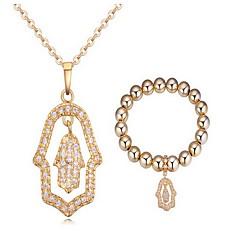 Jewelry 1 Necklace 1 Bracelet AAA Cubic Zirconia Party Zircon 1set Women Gold Wedding Gifts
