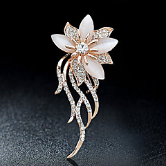 Brooches Pin Rhinestone Alloy Rhinestone Gold Flower Style Jewelry Party Casual Women Garment Accessories