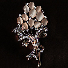Women's Brooches Rhinestone Alloy Rhinestone Opal Gold White Flower Style Jewelry Party Casual