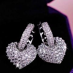 Women's Heart Shape Stud Earrings Jewelry Wedding Party Alloy Cubic Zirconia 1 pair