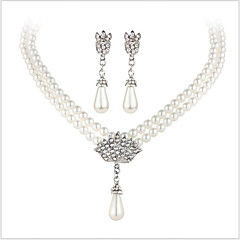 Zestawy biżuterii Kryształ Ślubny luksusowa biżuteria Perłowy Imitacja pereł Kryształ górski Imitacja diamentu Stop 1 Naszyjnik 1 parę