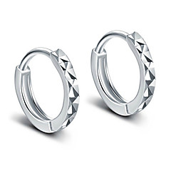 Hoop Earrings 925 Sterling Silver Elegant Classic Silver Circle Silver Jewelry For Party Daily Casual 1 pair