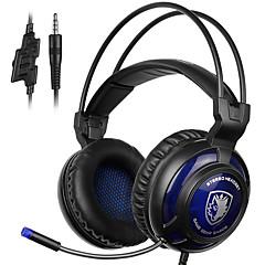 Sades sa-805 3,5 milímetros auscultadores de jogos com música de cancelamento de ruído de microfone headphone preto-azul para telefones